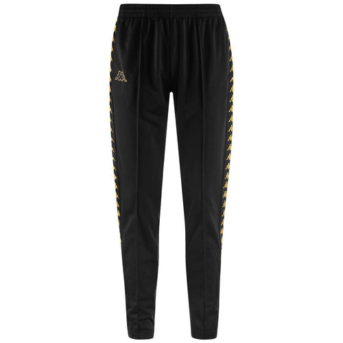 KAPPA Logo Slim Fit Track Pants, Black/ Gold-OZNICO