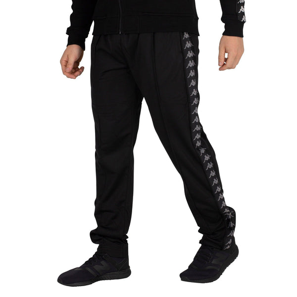 KAPPA Logo Slim Fit Track Pants, Black/ Grey-OZNICO