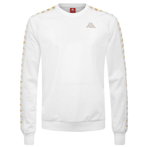 KAPPA Slim Fit Logo Crewneck, White/ Gold-OZNICO