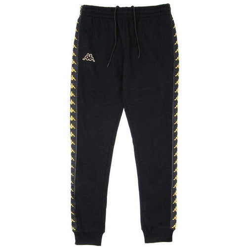 KAPPA Slim Fit Logo Sweatpants, Black/ Gold-OZNICO