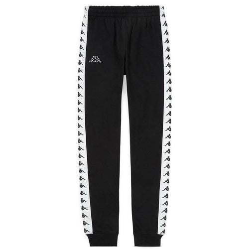 KAPPA Slim Fit Logo Sweatpants, Black/ White-OZNICO