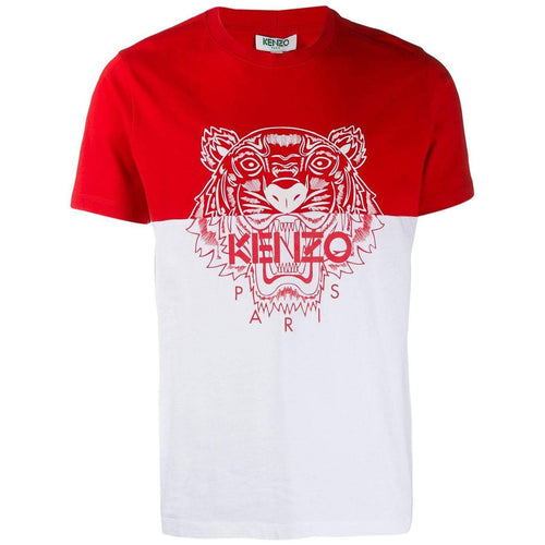 KENZO Color-Block Tiger T-Shirt, Medium Red-OZNICO