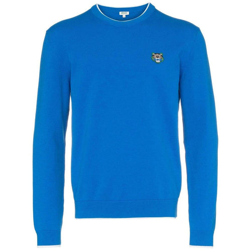 KENZO Embroidered Tiger Sweater, French Blue-OZNICO