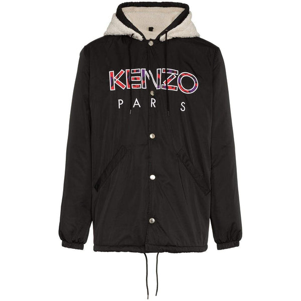 KENZO Faux-Shearling Hooded Jacket, Black-OZNICO