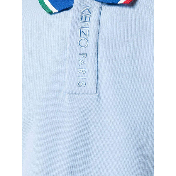 KENZO Fitted Embroidered Polo, Sky Blue-OZNICO