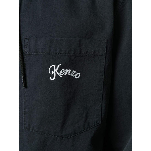 KENZO Hooded Shirt Jacket, Black-OZNICO