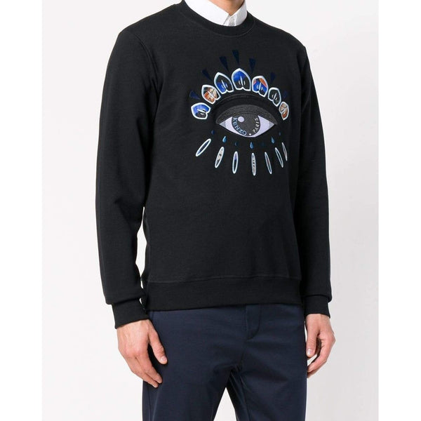 KENZO Indonesian Flower Eye Sweatshirt, Black-OZNICO