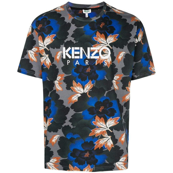 KENZO Indonesian Flower Printed T-Shirt, Anthracite-OZNICO