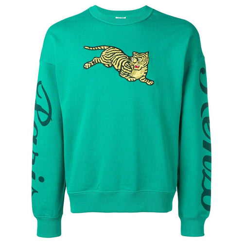 KENZO Jumping Tiger Embroidered Sweatshirt, Grass Green-OZNICO