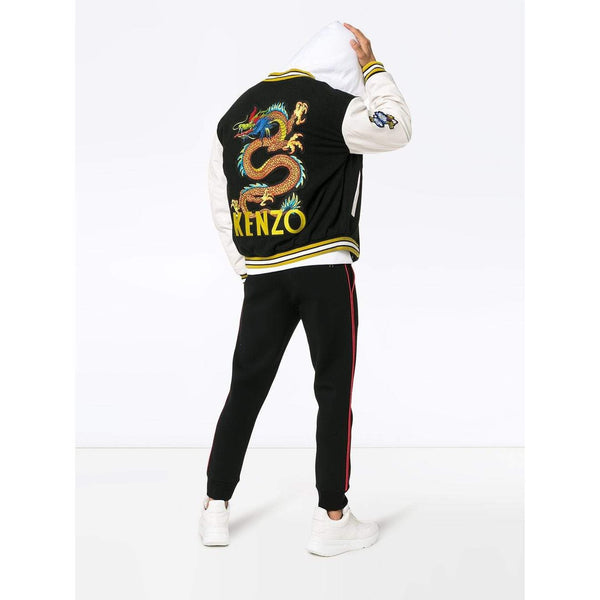 KENZO Logo Dragon Embroidered Wool Blend Varsity Jacket, Black-OZNICO