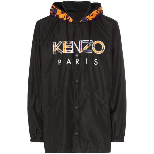 KENZO Logo Print Hooded Windbreaker Jacket, Black-OZNICO
