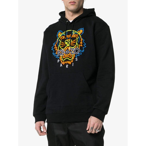 4cff4549 KENZO Neon Tiger Embroidered Hooded Sweatshirt, Black