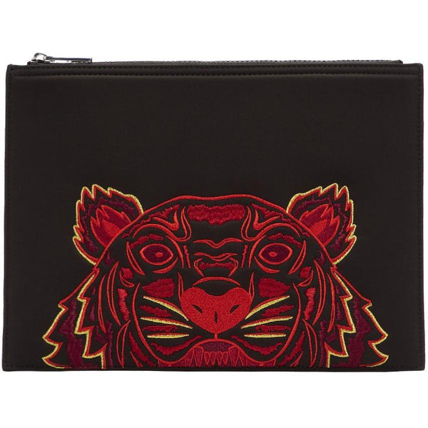 KENZO Neoprene Chinese New Year Tiger Pouch, Black-OZNICO