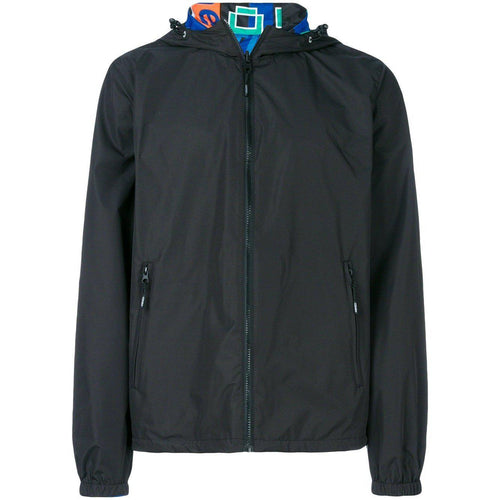 KENZO Reversible Windbreaker With Hood, Black-OZNICO