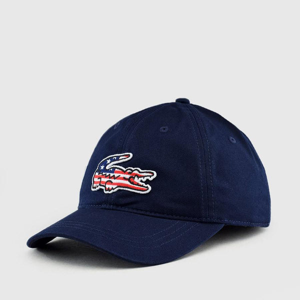 LACOSTE Big Croc USA Appliqué Baseball Cap, Navy-OZNICO