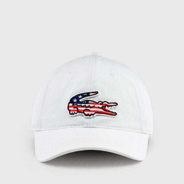 LACOSTE Big Croc USA Appliqué Baseball Cap, White-OZNICO