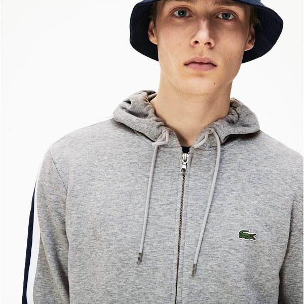 LACOSTE Hooded Fleece Sweatshirt, Silver Chine-OZNICO