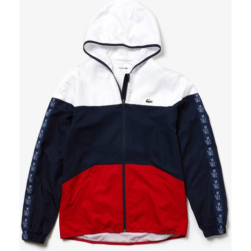 LACOSTE Sport Color-block Tennis Jacket, White/ Navy Blue/ Red-OZNICO