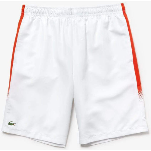 LACOSTE Sport Lightweight Tennis Shorts, White/ Mexico Red-OZNICO