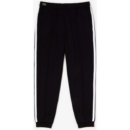 LACOSTE Striped Accent Fleece Sweatpants, Black-OZNICO