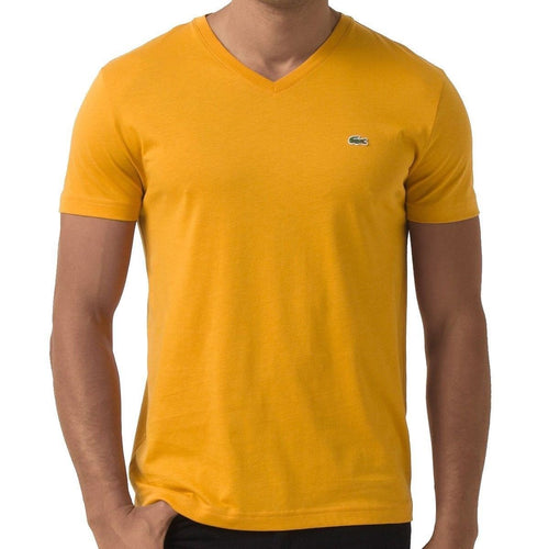 LACOSTE V-Neck Pima Cotton Jersey T-Shirt, Yellow-OZNICO