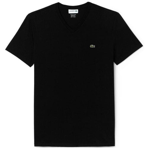 LACOSTE V-Neck T-Shirt, Black-OZNICO