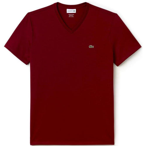 LACOSTE V-Neck T-Shirt, Bordeaux-OZNICO