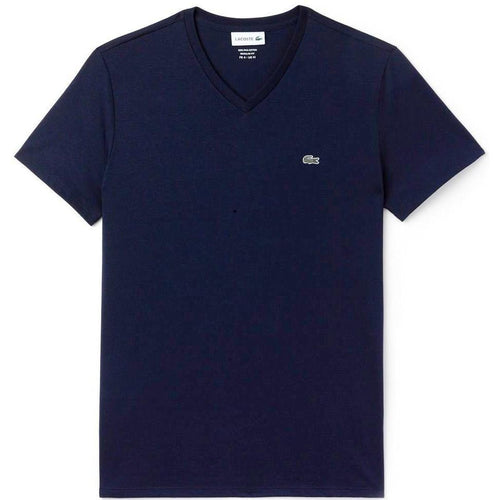 LACOSTE V-Neck T-Shirt, Navy Blue-OZNICO