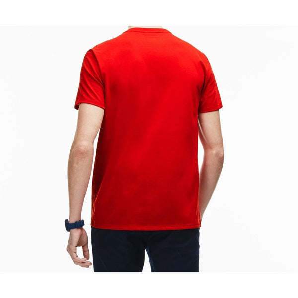 LACOSTE V-Neck T-Shirt, Red-OZNICO