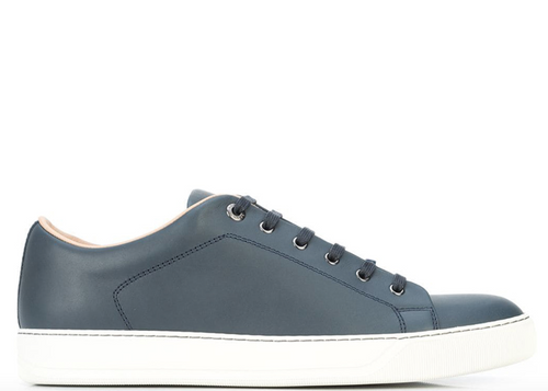 LANVIN Casual Low-Top Nappa Calfskin Sneakers, Navy-OZNICO