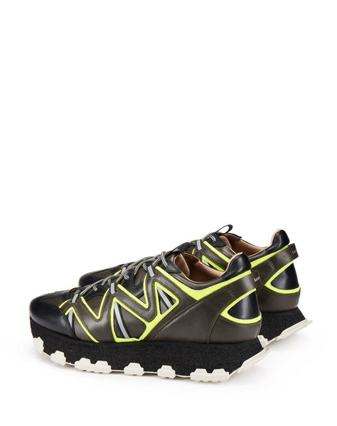 LANVIN Lightning Runner Sneaker, Dark Khaki/ Yellow-OZNICO