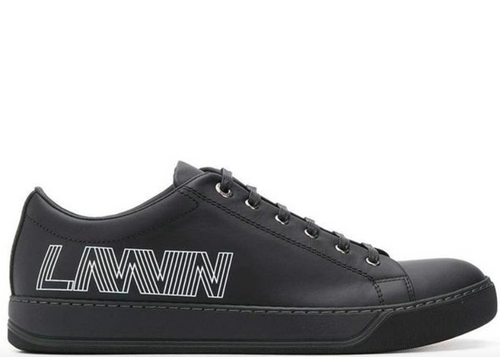LANVIN Low-Top Logo Sneakers, Black-OZNICO
