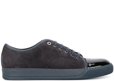 LANVIN Suede and Patent Cap-Toe Snekaer, Dark Grey