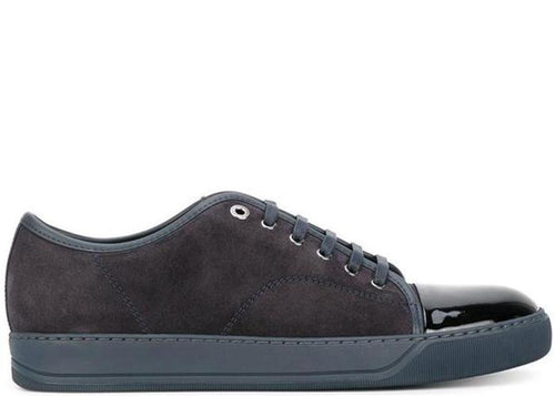 LANVIN Suede and Patent Cap-Toe Sneaker, Dark Blue-OZNICO