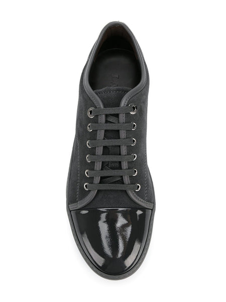 LANVIN Suede and Patent Cap-Toe Snekaer, Dark Grey-OZNICO