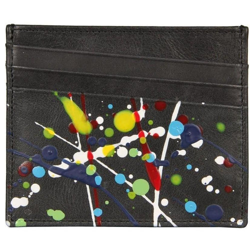MAISON MARGIELA Credit Card Holder, Black Paint Splatter-OZNICO