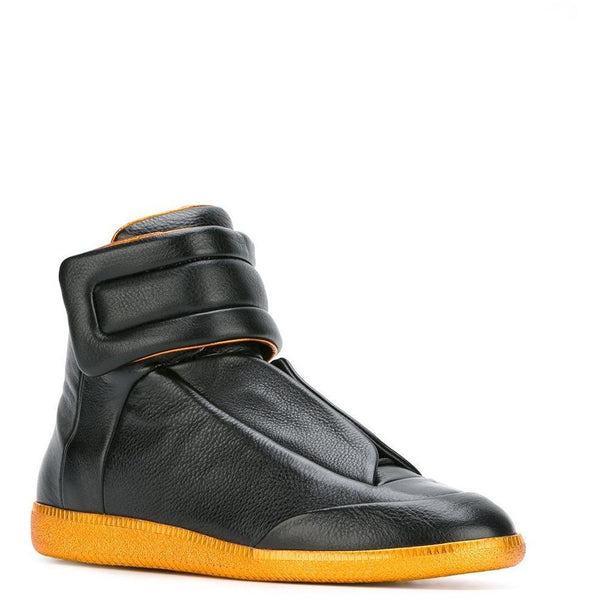 MAISON MARGIELA Future Hi Sneakers, Black/ Gold-OZNICO