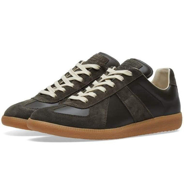 MAISON MARGIELA Men's Replica Low Trainer, Dark Green & Gum-OZNICO