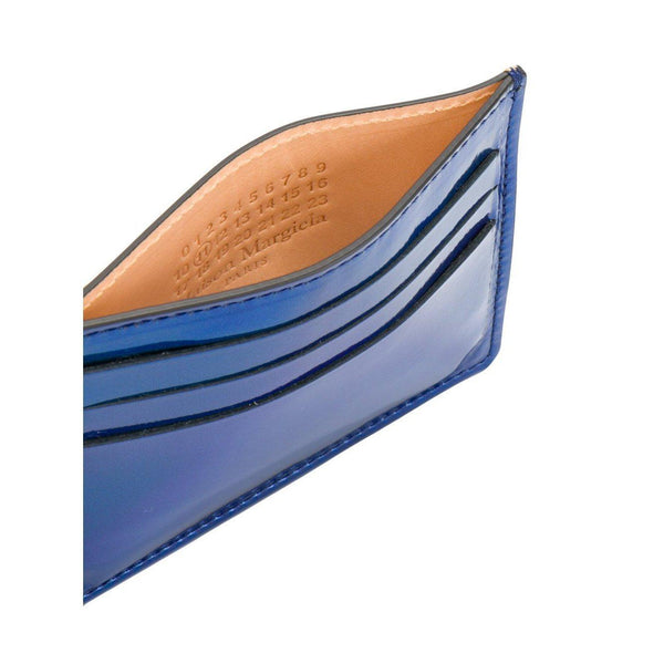 MAISON MARGIELA Mirrored Bicolor Credit Card Holder, Metallic Blue-OZNICO