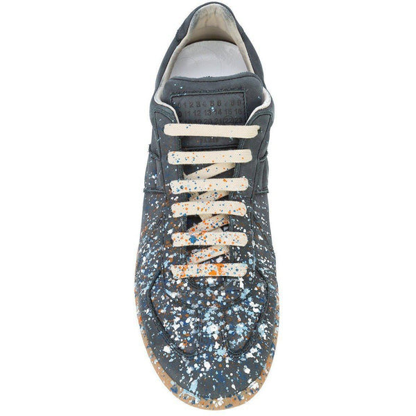 MAISON MARGIELA Replica Low Trainer, Grey Paint Splatter-OZNICO