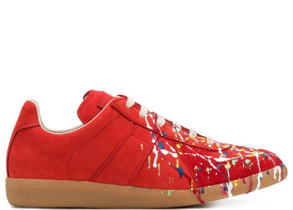 MAISON MARGIELA Replica Low Trainer, Red Paint Splatter-OZNICO