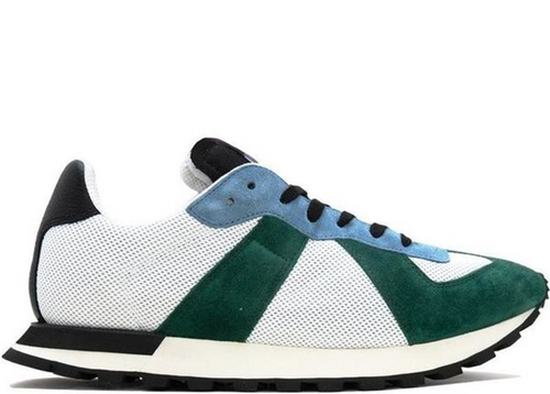 MAISON MARGIELA Retro Runner Sneaker, Green/ Light Blue-OZNICO
