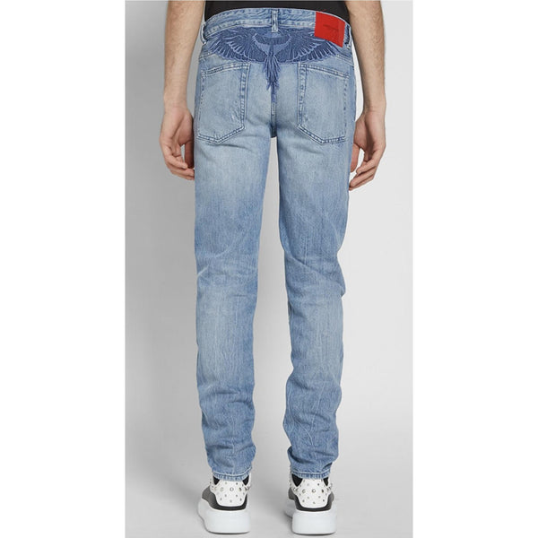 MARCEL BURLON Blue Wing Slim Jeans, Strong Wash-OZNICO