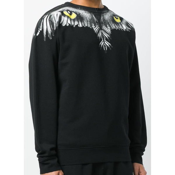 MARCELO BURLO Eye Wing Crewneck, Black/Multi-OZNICO