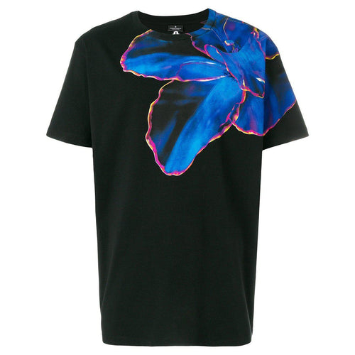 MARCELO BURLON Blue Flower T-Shirt, Black-OZNICO