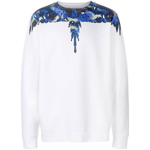 MARCELO BURLON Camou Wings Crewneck, White/ Blue-OZNICO