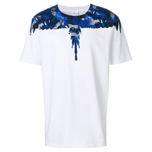 MARCELO BURLON Camou Wings T-Shirt, White/ Blue-OZNICO