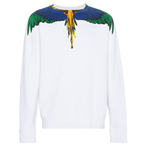 MARCELO BURLON Color Wings Crewneck, White/ Multi-OZNICO