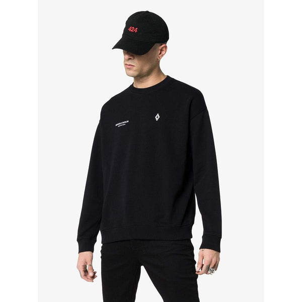MARCELO BURLON Embroidered Punch Crewneck, Black-OZNICO