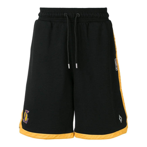 MARCELO BURLON L.A. Lakers Logo Tape Shorts, Black-OZNICO